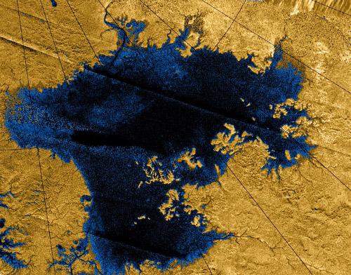 Titan's second largest methane lake, Ligeia Mare. - Image Credit: NASA/JPL/USGS
