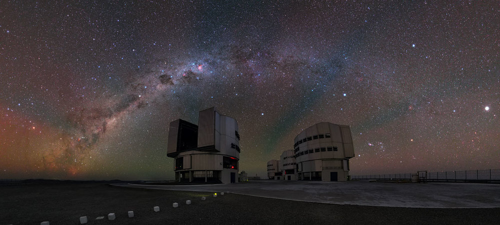Airglow spotted in panoramic shot of the Very Large Telescope. – Image Credit: ESO/Y. Beletsky