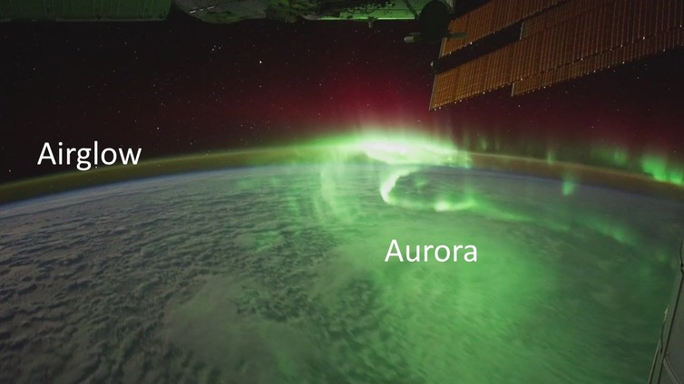 The aurora and airglow captured from the International Space Station. - Image Credit: NASA