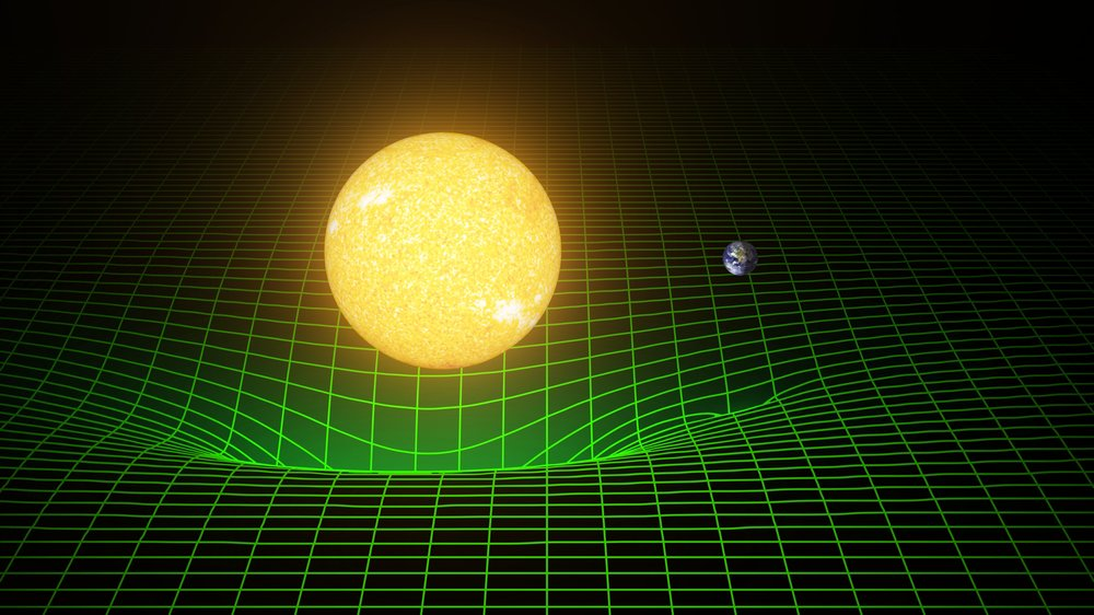 The more massive the object, the more it distorts space-time, shown here as the green mesh. Earth orbits the Sun by rolling around the dip created by the Sun's mass in the fabric of space-time. It doesn't fall into the Sun because it also possesses forward momentum. Credit: LIGO/T. Pyle