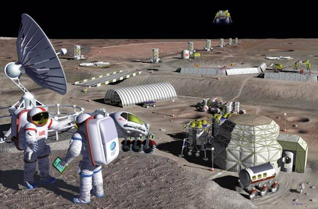 Building a lunar base might be easier if astronauts could harvest local materials for the construction, and life support in general. - Image Credit: NASA/Pat Rawlings