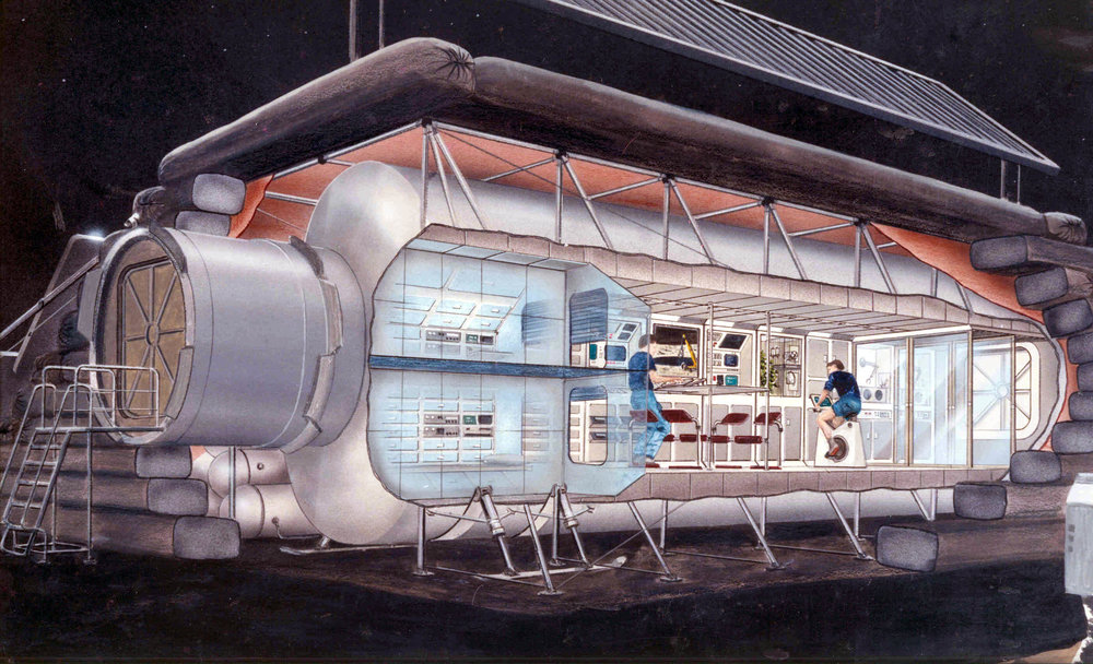 An early lunar outpost design based on a module design (1990). - Image Credit: NASA/Cicorra Kitmacher