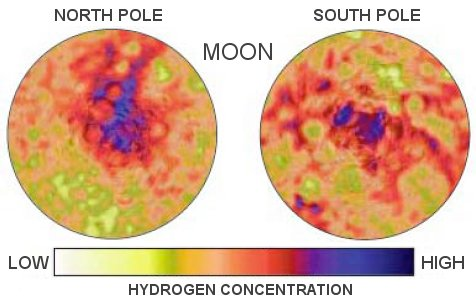 Hydrogen detected in the polar regions of the Moon point towards the presence of water. - Image Credit: NASA