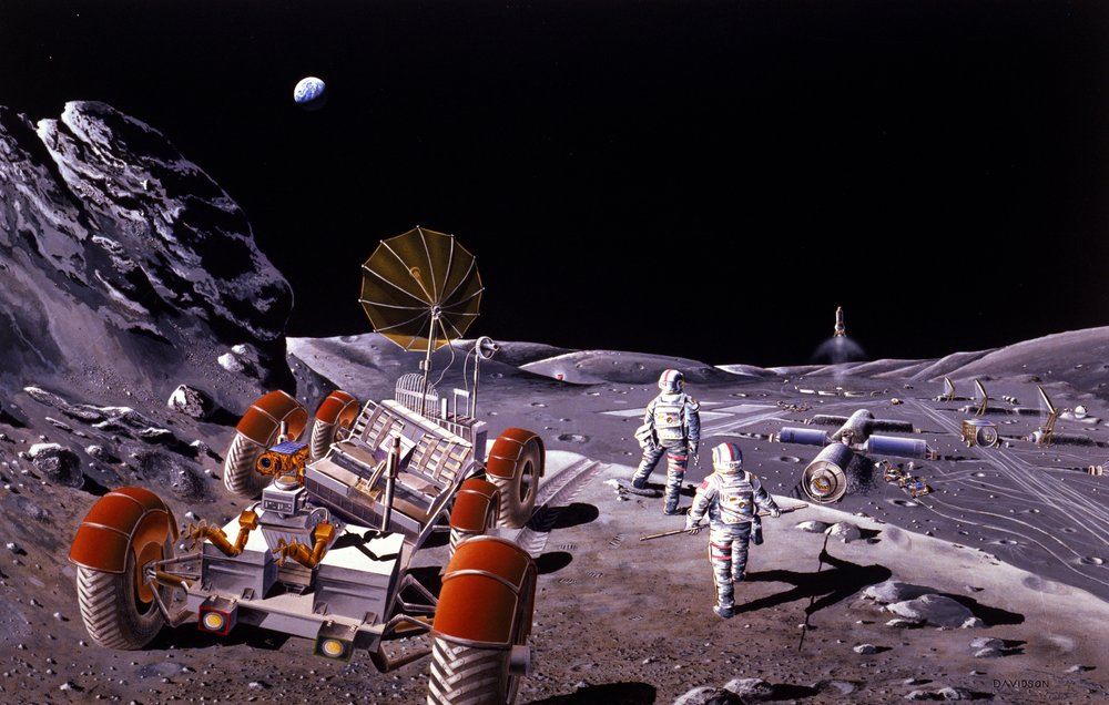 Artist concept of a base on the Moon. - Image Credit: NASA, via Wikipedia