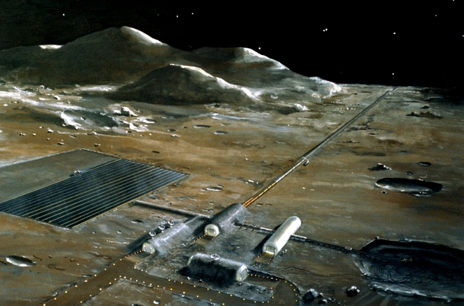 A lunar base, as imagined by NASA in the 1970s. - Image Credit: NASA