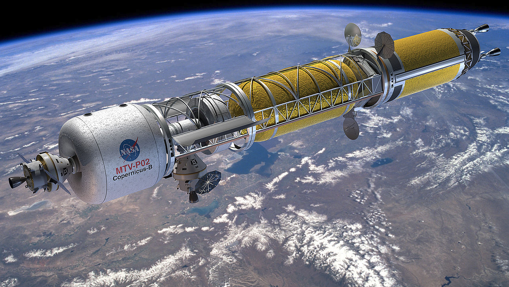 Artist's concept of a Bimodal Nuclear Thermal Rocket in Low Earth Orbit. Credit: NASA