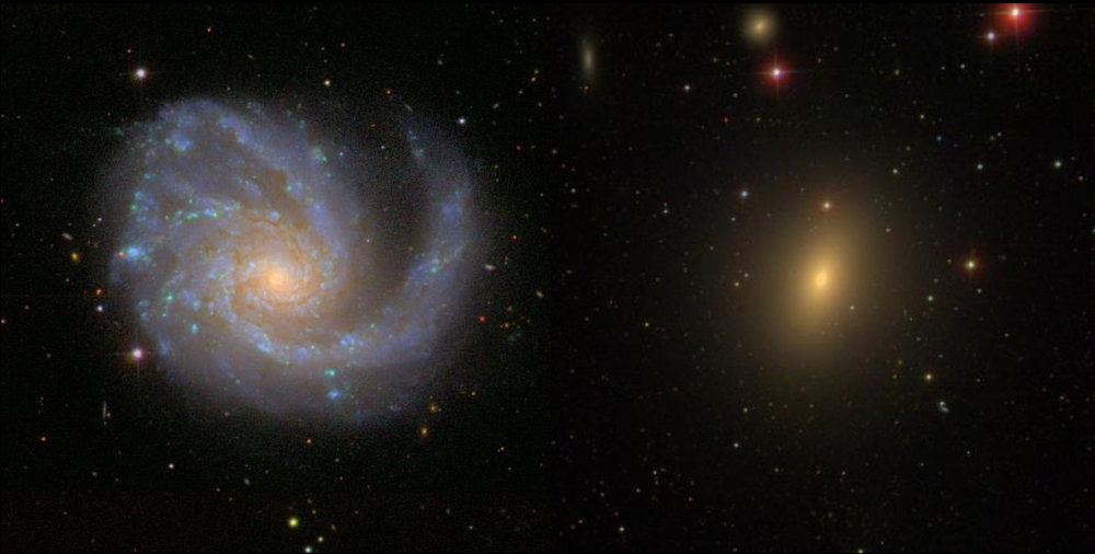 Left: a spiral galaxy ablaze in the blue light of young stars from ongoing star formation; right: an elliptical galaxy bathed in the red light of old stars. - Image Credit:  Sloan Digital Sky Survey ,  CC BY-NC