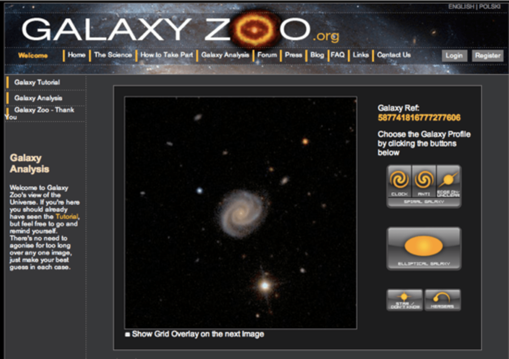 Galaxy Zoo allows citizen scientists to classify galaxies. - Screenshot by Kevin Schawinski,  CC BY-ND