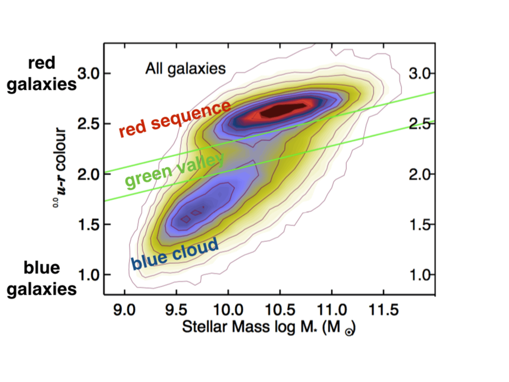 The galaxy color-mass diagram. Blue, star-forming galaxies are at the bottom, in the blue cloud. Red, quiescent galaxies are at the top, in the red sequence. The 'green valley' is the transition zone in between. - Image Credit: Schawinski+14,  CC BY-ND