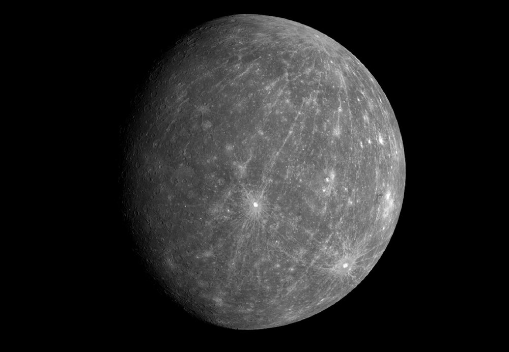 Mercury, as imaged by the MESSENGER spacecraft, revealing parts of the never seen by human eyes. - Image Credit: NASA/Johns Hopkins University Applied Physics Laboratory/Carnegie Institution of Washington