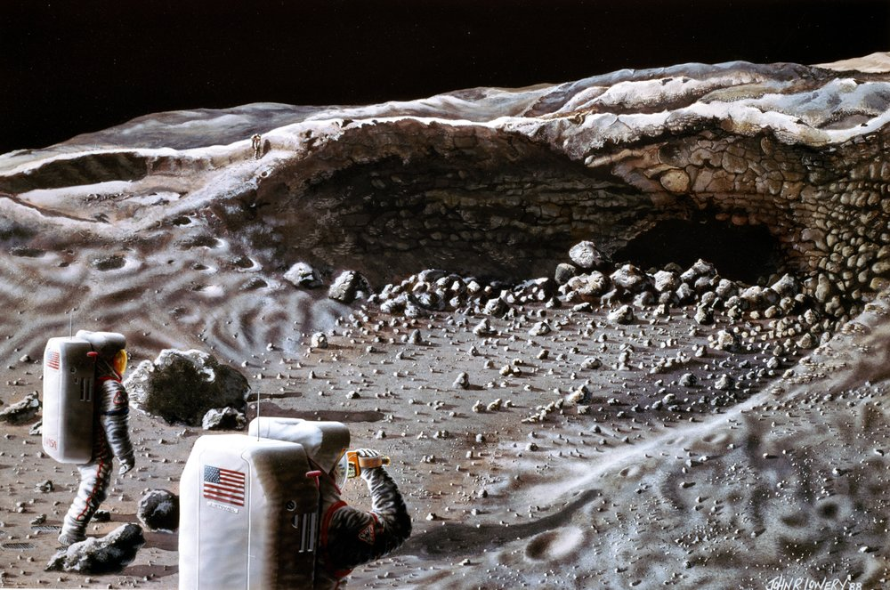 Here, a surface exploration crew begins its investigation of a typical, small lava tunnel, to determine if it could serve as a natural shelter for the habitation modules of a Lunar Base. - Image Credit: NASA's Johnson Space Center
