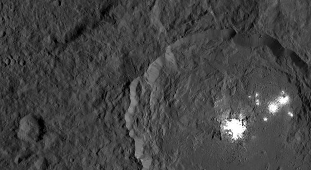 This image of the limb of dwarf planet Ceres shows a section of the northern hemisphere. Prominently featured is Occator Crater, home of Ceres' intriguing brightest areas. - Image Credit: NASA/JPL-Caltech/UCLA/MPS/DLR/IDA