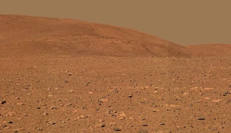 "Approximate true-color rendering of the central part of the ""Columbia Hills"", taken by NASA's Mars Exploration Rover Spirit panoramic camera. - Image Credit: NASA/JPL"
