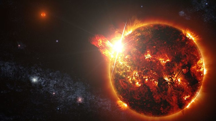 Huge flare from small star. - Image Credit: NASA's Goddard Space Flight Center/S. Wiessinger