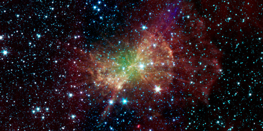 Image of the Messier 27 planetary nebula, taken by NASA's Spitzer Space Telescope. - Image Credit: NASA/JPL-Caltech/J. Hora (Harvard-Smithsonian CfA)