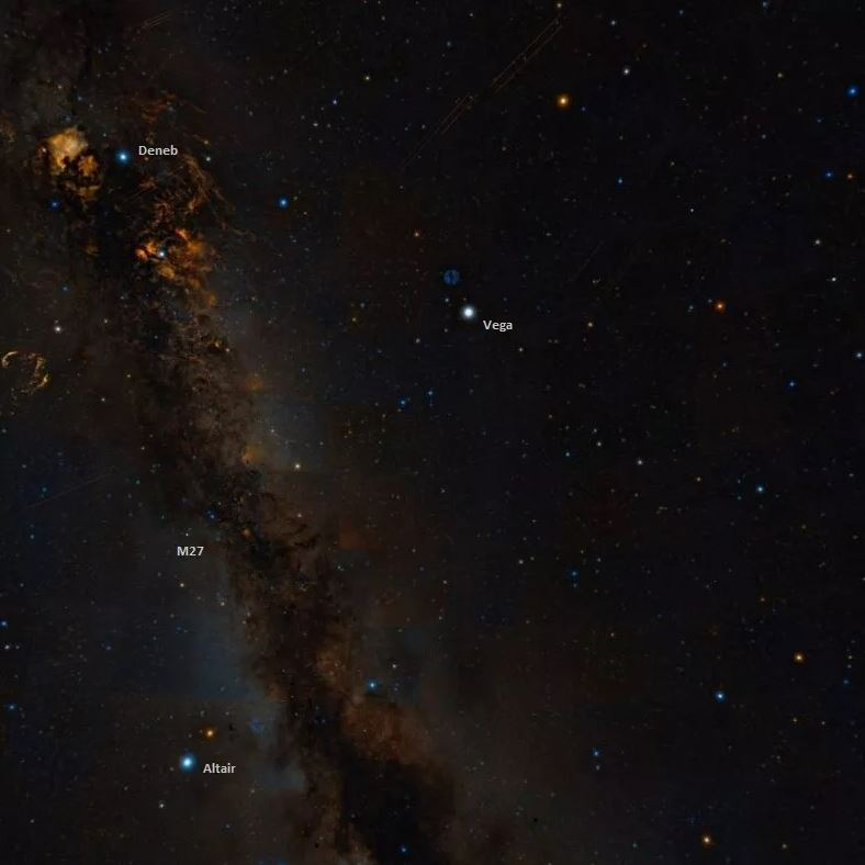 Messier 27 and the Summer Triangle. - Image Credit: Wikisky