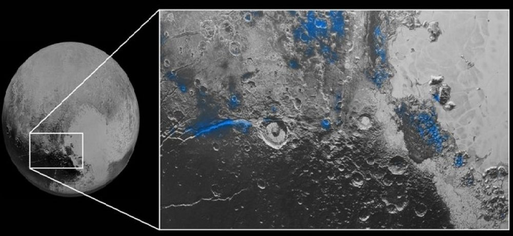 Water ice in surface cracks (extensional faults) that support the reorientation of Pluto. - Image Credit: NASA/Johns Hopkins University Applied Physics Laboratory/Southwest Research Institute