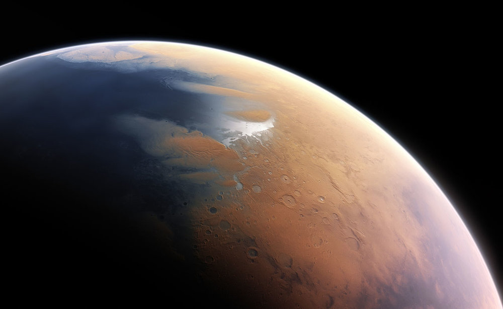 This artist's impression shows how Mars may have looked about four billion years ago. - Image Credit  ESO/M. Kommesser