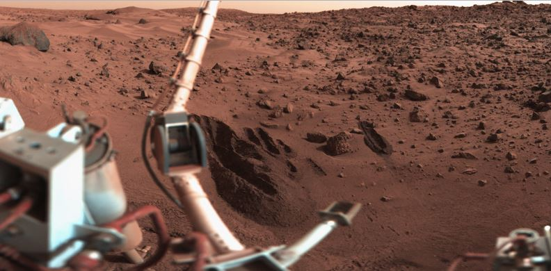The landing site of Viking 1 on Mars in 1977, with trenches dug in the soil for the biology experiments. Credit: NASA/JPL