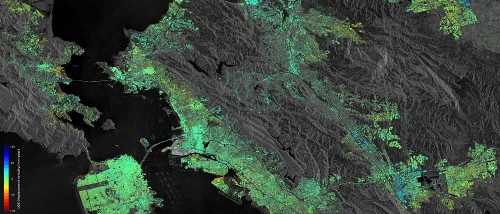 Radar data from Sentinel-1 shows the displacement in San Francisco's Bay Area. Yellow-red areas are sinking, while blue areas are rising. Green areas are not moving - Image Credit: ESA SEOM INSARAP study / PPO.labs / Norut / NGU