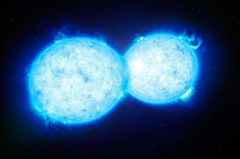 VFTS 352 is the hottest and most massive double star system to date where the two components are in contact and sharing material. - Image Credit: ESO/L. Calçada