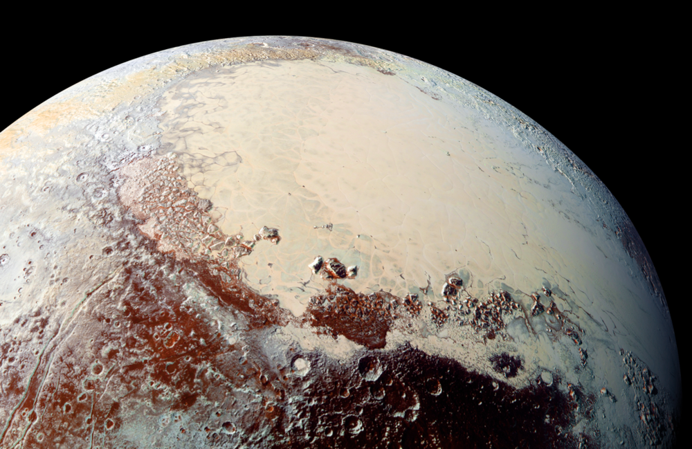 "This high-resolution image captured by NASA's New Horizons spacecraft shows the bright expanse of the western lobe of Pluto's ""heart,"" or Sputnik Planitia, which is rich in nitrogen, carbon monoxide and methane ices. – Image Credits: NASA/JHUAPL/SwRI"
