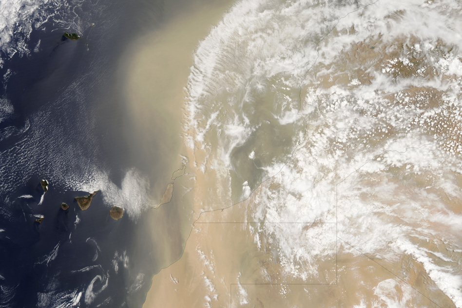 Dust blowing through the Sahara Desert in 2012. Researchers have found that the plume was far less dusty between 5,000 and 11,000 years ago, containing only half the amount of dust that is transported today. - Image Credit: courtesy MODIS Rapid Response Team/Goddard Space Flight Center/NASA