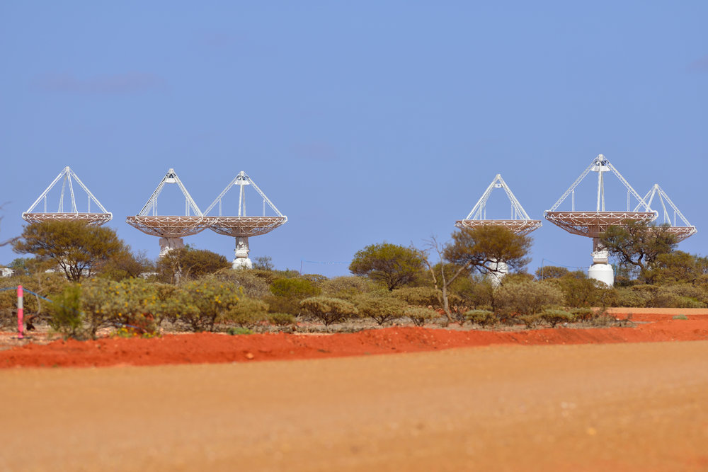 Part of CSIRO's ASKAP antennas at the Murchison Radio-astronomy Observatory (MRO) in Western Australia. - Image Credit:  Australian SKA Office/WA Department of Commerce ,