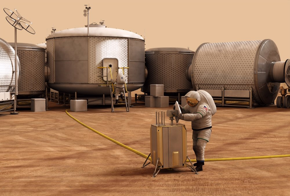 Artist's concept of astronauts at work in a Martian exploration zone. – Image Credits: NASA