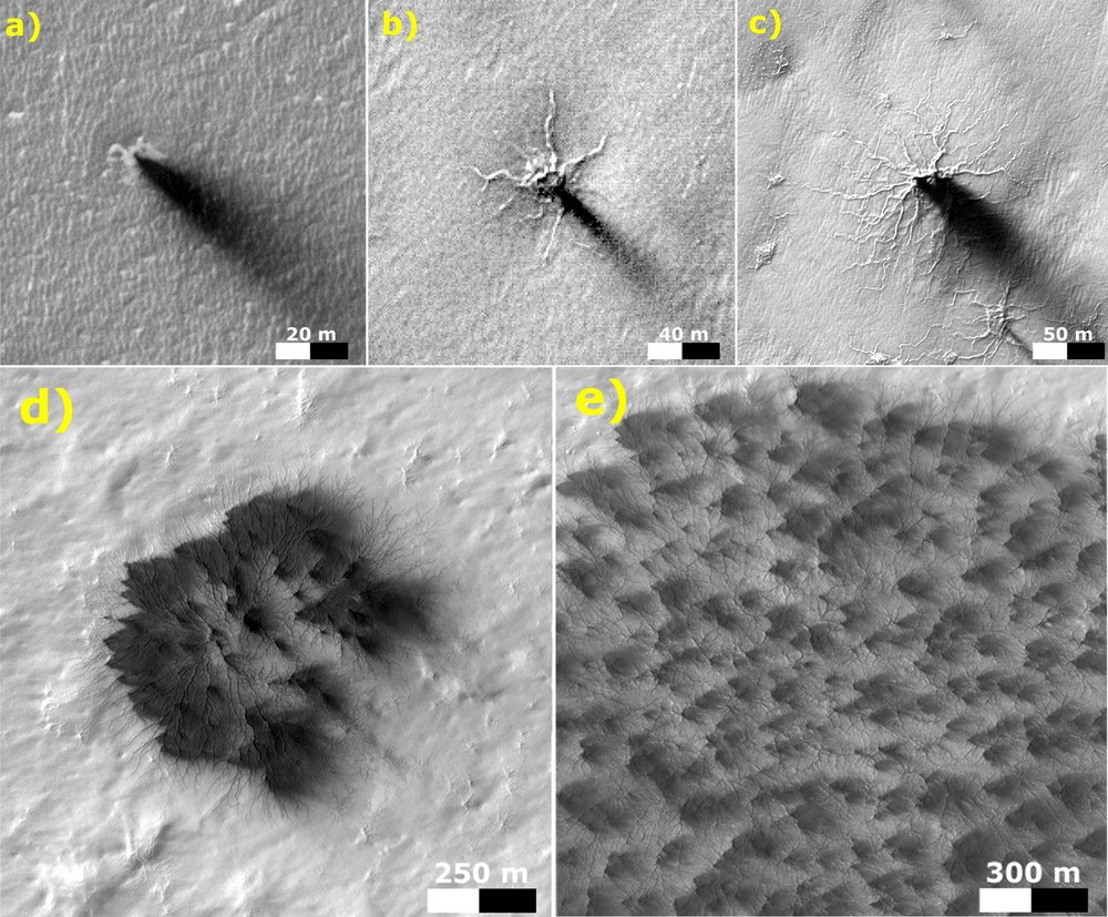 These five images from the HiRISE camera on NASA's Mars Reconnaissance Orbiter show different Martian features of progressively greater size and complexity, all thought to result from thawing of seasonal carbon dioxide ice that covers large areas near Mars' south pole during winter. – Image Credits: NASA/JPL-Caltech/Univ. of Arizona