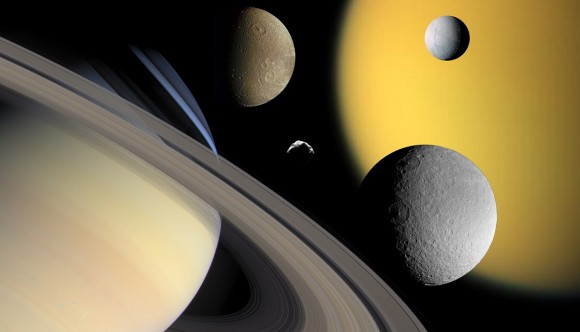 A collage of Saturn (bottom left) and some of its moons: Titan, Enceladus, Dione, Rhea and Helene. - Image Credit: NASA/JPL/Space Science Institute