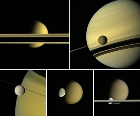 A montage of images from Cassini of various moons and the rings around Saturn. - Image Credit: NASA/JPL-Caltech/Space Science Institute