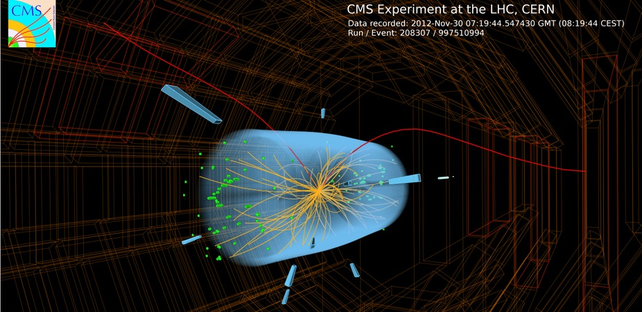 Muons, a type of lepton, shown being produced by the Large Hadron Collider. – Image Credit: CERN