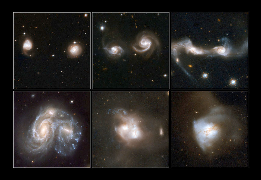 Images of a few examples of merging galaxies taken by the Hubble Space Telescope. - Image Credit: NASA/ESA/STScI/A. Evans/NRAO/Caltech