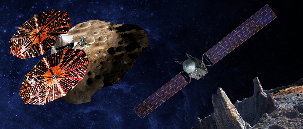 An artist's conception of the Lucy spacecraft flying by the Trojan Eurybates – one of the six diverse and scientifically important Trojans to be studied. Trojans are fossils of planet formation and so will supply important clues to the earliest history of the solar system. (Right) Psyche, the first mission to the metal world 16 Psyche will map features, structure, composition, and magnetic field, and examine a landscape unlike anything explored before. Psyche will teach us about the hidden cores of the Earth, Mars, Mercury and Venus. - Image   Credits: SwRI and SSL/Peter Rubin