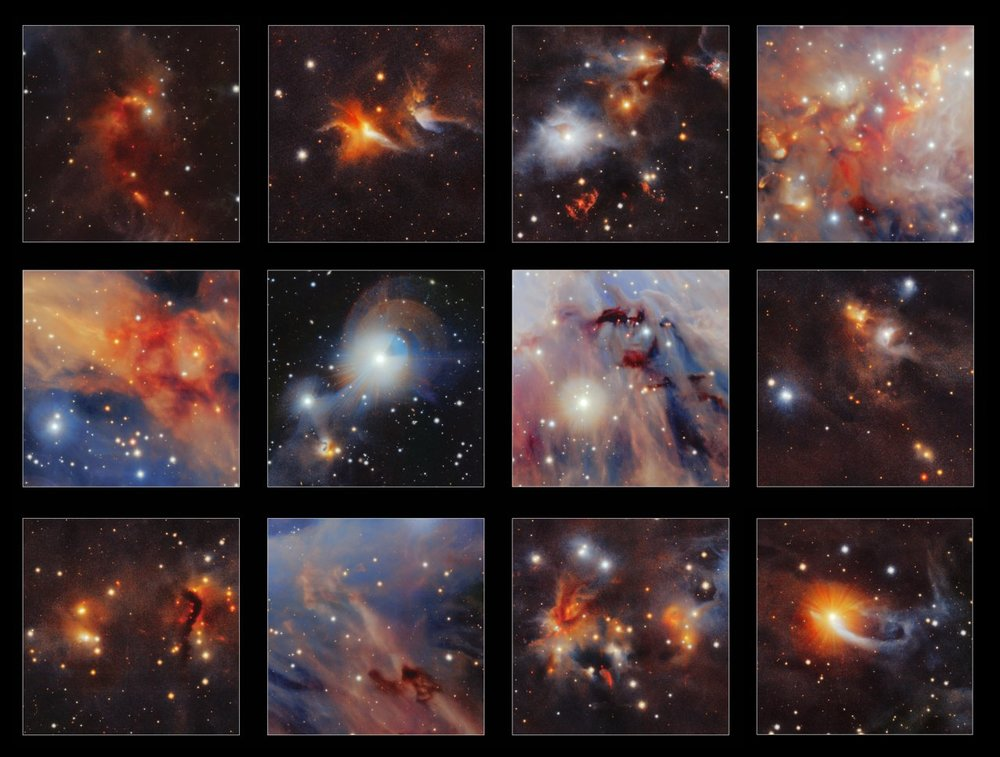 This collection of highlights is taken from a new infrared image of the Orion A molecular cloud from the VISTA telescope. Many curious structures are clearly seen, including the red jets from very young stars, dark clouds of dust and even tiny images of very distant galaxies. – Image Credit: ESO/VISION survey