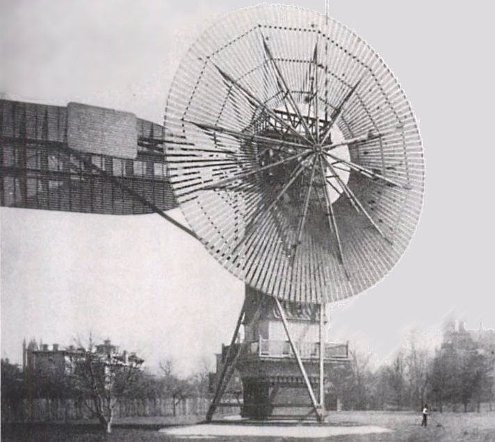The first automatically operated wind turbine, built in Cleveland in 1887 by Charles F. Brush. - Image Credit: Wikipedia Commons