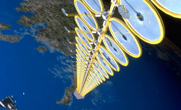 Artist's concept of a space-based solar array. - Image Credit NASA/SAIC