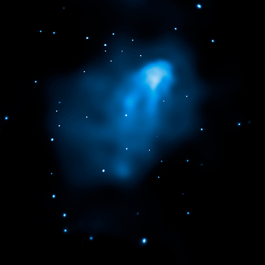 X-ray image of the collision between Abell 3411 and Abell 3412. - Image   Credit: NASA/CXC/SAO/R. van Weeren et al.