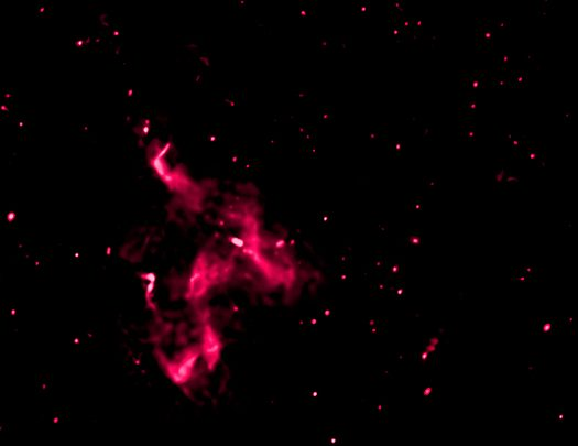 Image of radio waves produce by the collision between Abell 3411 and Abell 3412. - Image   Credit: NASA/CXC/SAO/R. van Weeren et al.