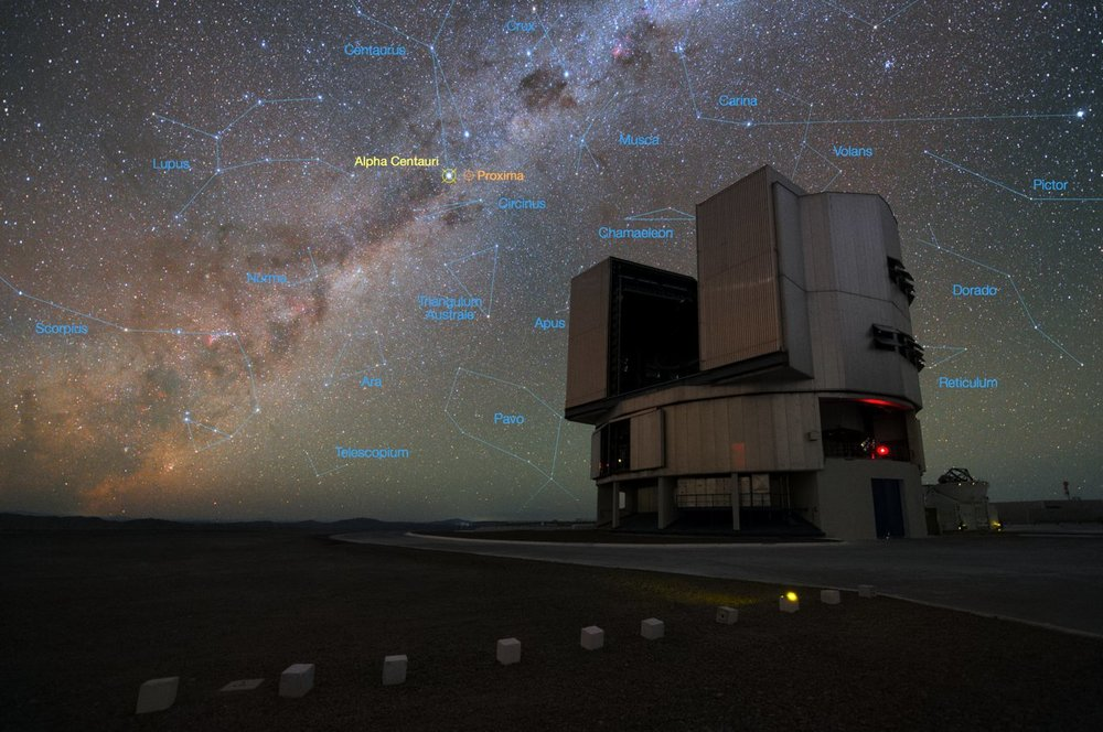 The ESO's Very Large Telescope (VLT) at the Paranal Observatory in Chile and a stellar backdrop showing the location of Alpha Centauri. – Image Credit: ESO