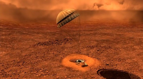 Artist depiction of Huygens landing on Titan. - Image Credit: ESA