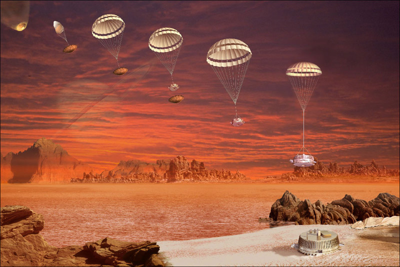 Artist concept of the Huygens probe descending to Titan. - Image Credit: ESA.