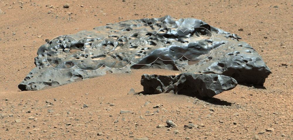 "Curiosity found this iron meteorite called ""Lebanon"" back in 2014. It's about two yards or two meters wide (left to right). The smaller piece in the foreground is named ""Lebanon B. This photo combines a series of high-resolution circular images across the middle taken by the Remote Micro-Imager (RMI) with a MastCam image. - Image Credit: NASA/JPL-Caltech/LANL/CNES/IRAP/LPGNantes/CNRS/IAS/MSSS"