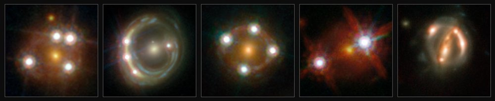 This montage shows the five lensed quasars and the foreground galaxies studied by the H0LICOW collaboration. Using these objects astronomers were able to make an independent measurement of the Hubble constant. They calculated that the Universe is actually expanding faster than expected on the basis of our cosmological model. – Image Credit: ESA/Hubble, NASA, Suyu et al.
