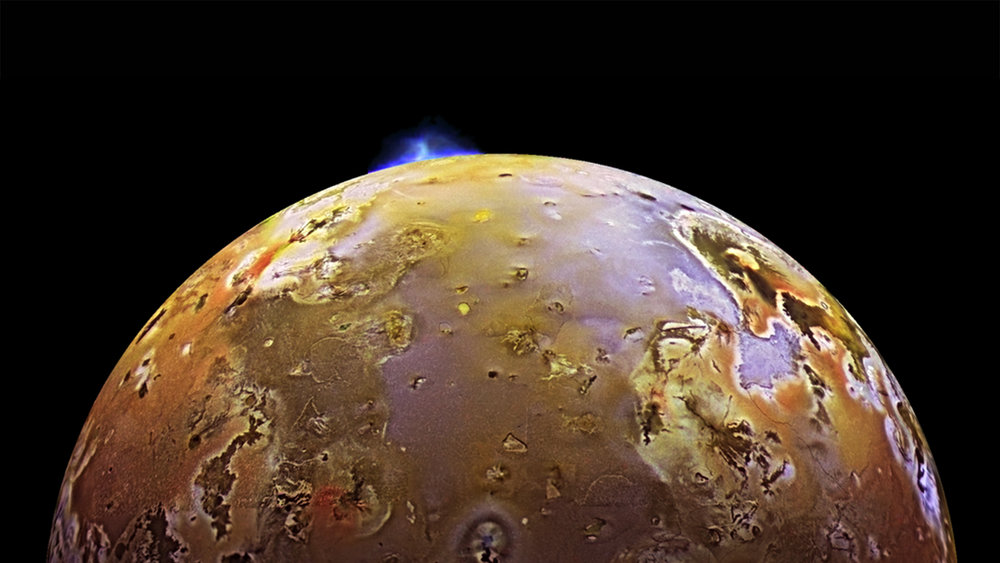 Io and volcanic plume. - Image Credit: NASA/JPL-Caltech