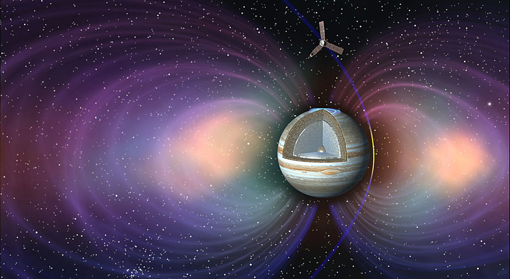 To accomplish its science objectives, NASA's Juno spacecraft orbits over Jupiter's poles and passes repeatedly through hazardous radiation belts. Two Boston University researchers propose using Juno to probe the ever-changing flux of volcanic gases-turned-ions spewed by Io's volcanoes. - Image Credit: NASA/JPL-Caltech