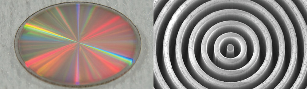 The vortex mask shown at left is made out of synthetic diamond. The mask is 0.4 inches (1 centimeter) in diameter and .01 inches (0.3 millimeters) thick. The vortex's engraved pattern of grooves is very similar to a compact disk, making it look like a miniature version of a CD. The image at right zooms into the mask's center with a scanning electron microscope. This view reveals the microstructure of the mask, highlighting its concentric grooves, which have a thickness about a hundred times smaller than that of a human hair. – Image Credits: University of Liège/Uppsala University