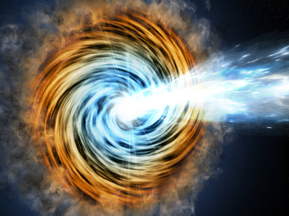 Black-hole-powered galaxies called blazars are the most common sources detected by NASA's Fermi. As matter falls toward the supermassive black hole at the galaxy's center, some of it is accelerated outward at nearly the speed of light along jets pointed in opposite directions. When one of the jets happens to be aimed in the direction of Earth, as illustrated here, the galaxy appears especially bright and is classified as a blazar. – Image Credits: M. Weiss/CfA