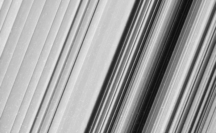 This image shows a region in Saturn's outer B ring. NASA's Cassini spacecraft viewed this area at a level of detail twice as high as it had ever been observed before. And from this view, it is clear that there are still finer details to uncover. - Image Credit: NASA/JPL-Caltech/Space Science Institute